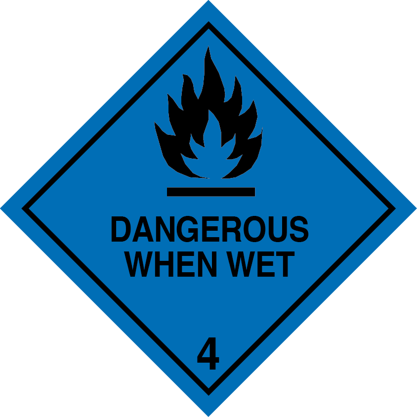Class 4.3 Dangerous when wet label sign sticker