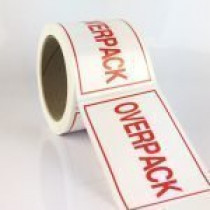 Overpack Label red 74mm x 105mm 250 per roll