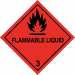 Class 3 flammable liquid sticker label sign